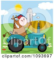 Cow Farmer Waving And Driving A Turquoise Tractor In A Field