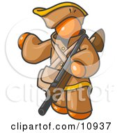 Orange Man In Hunting Gear Carrying A Rifle