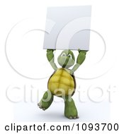 3d Tortoise Holding Up A Blank Sign