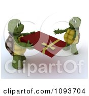 Clipart 3d Tortoise Giving His Mate A Valentines Day Gift Royalty Free Illustration