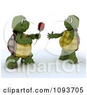 Clipart 3d Tortoise Giving His Valentine A Rose Royalty Free Illustration