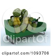 Clipart 3d Tortoise Couple Drinking Champagne On A Sofa Royalty Free Illustration