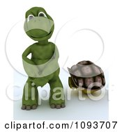 Clipart 3d Naked Tortoise Out Of His Shell Royalty Free Illustration