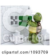 Clipart 3d Tortoise Assembling A Puzzle Wall Royalty Free Illustration