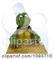 Clipart 3d Chef Tortoise With A Knife And Cutting Board Royalty Free Illustration by KJ Pargeter