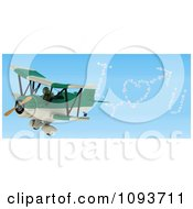 Clipart 3d Tortoise Flying A Red Biplane And Writing I Heart U In The Sky Royalty Free Illustration by KJ Pargeter
