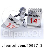 Clipart 3d Silver Robot Changing A Desk Calendar To Valentines Day Royalty Free CGI Illustration