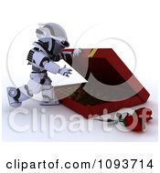 Clipart 3d Valentines Day Robot Opening A Box Of Chocolates Royalty Free Illustration