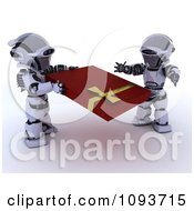 Clipart 3d Valentines Day Robot Giving His Mate A Present Royalty Free Illustration