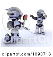 Clipart 3d Valentines Day Robot Giving His Mate A Rose Royalty Free Illustration