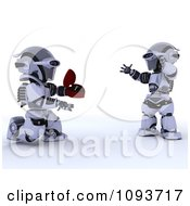 Clipart 3d Robot Proposing To His Mate Royalty Free Illustration