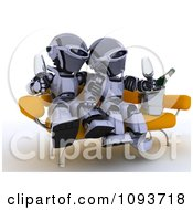Clipart 3d Robot Couple Sitting On A Sofa And Drinking Champagne Royalty Free Illustration