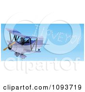Clipart 3d Robot Flying A Red Biplane And Creating I Love You In The Sky Royalty Free Illustration by KJ Pargeter