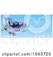 Clipart 3d Robot Flying A Red Biplane And Creating A Valentine Heart In The Sky Royalty Free Illustration by KJ Pargeter