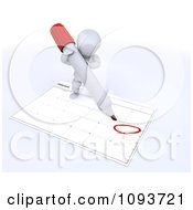 Clipart 3d White Character Circling Valentines Day On A Calendar Royalty Free Illustration