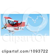3d White Character Flying A Red Biplane And Creating A Valentine Heart In The Sky