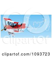 3d White Character Flying A Red Biplane And Creating I Heart U In The Sky