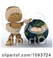 Clipart 3d Cardboard Box Man Resting A Hand On A Globe Royalty Free Illustration