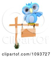 3d Blue Owl Resting On A Sign