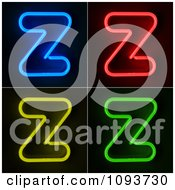 Clipart Blue Red Yellow And Green Neon Capital Z Letters Royalty Free CGI Illustration by stockillustrations