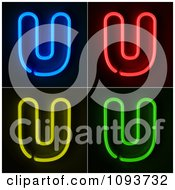 Clipart Blue Red Yellow And Green Neon Capital U Letters Royalty Free CGI Illustration