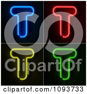 Clipart Blue Red Yellow And Green Neon Capital T Letters Royalty Free CGI Illustration by stockillustrations