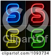 Clipart Blue Red Yellow And Green Neon Capital S Letters Royalty Free CGI Illustration by stockillustrations
