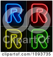 Clipart Blue Red Yellow And Green Neon Capital R Letters Royalty Free CGI Illustration