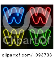 Clipart Blue Red Yellow And Green Neon Capital W Letters Royalty Free CGI Illustration