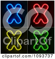 Clipart Blue Red Yellow And Green Neon Capital X Letters Royalty Free CGI Illustration