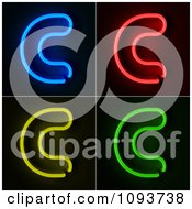 Clipart Blue Red Yellow And Green Neon Capital C Letters Royalty Free CGI Illustration