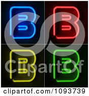 Clipart Blue Red Yellow And Green Neon Capital B Letters Royalty Free CGI Illustration by stockillustrations