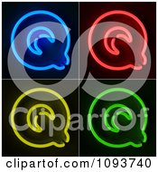 Clipart Blue Red Yellow And Green Neon Capital Q Letters Royalty Free CGI Illustration