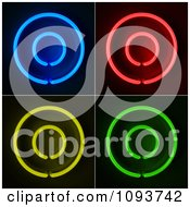 Clipart Blue Red Yellow And Green Neon Capital O Letters Royalty Free CGI Illustration