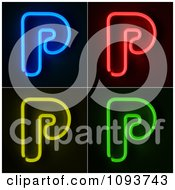 Clipart Blue Red Yellow And Green Neon Capital P Letters Royalty Free CGI Illustration