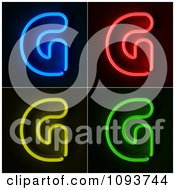 Clipart Blue Red Yellow And Green Neon Capital G Letters Royalty Free CGI Illustration