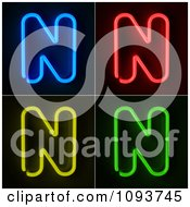 Clipart Blue Red Yellow And Green Neon Capital N Letters Royalty Free CGI Illustration