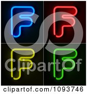 Clipart Blue Red Yellow And Green Neon Capital F Letters Royalty Free CGI Illustration by stockillustrations