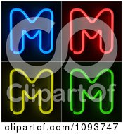 Clipart Blue Red Yellow And Green Neon Capital M Letters Royalty Free CGI Illustration