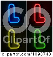 Clipart Blue Red Yellow And Green Neon Capital L Letters Royalty Free CGI Illustration