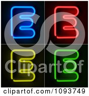 Clipart Blue Red Yellow And Green Neon Capital E Letters Royalty Free CGI Illustration