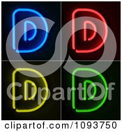 Clipart Blue Red Yellow And Green Neon Capital D Letters Royalty Free CGI Illustration