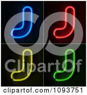 Clipart Blue Red Yellow And Green Neon Capital J Letters Royalty Free CGI Illustration