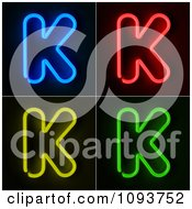 Clipart Blue Red Yellow And Green Neon Capital K Letters Royalty Free CGI Illustration
