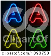 Clipart Blue Red Yellow And Green Neon Capital A Letters Royalty Free CGI Illustration