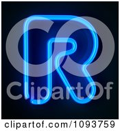 Clipart Blue Neon Capital Letter R Royalty Free CGI Illustration by stockillustrations