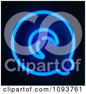 Clipart Blue Neon Capital Letter Q Royalty Free CGI Illustration