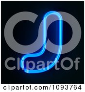 Clipart Blue Neon Capital Letter J Royalty Free CGI Illustration