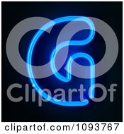 Clipart Blue Neon Capital Letter G Royalty Free CGI Illustration