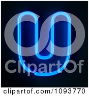 Clipart Blue Neon Capital Letter U Royalty Free CGI Illustration